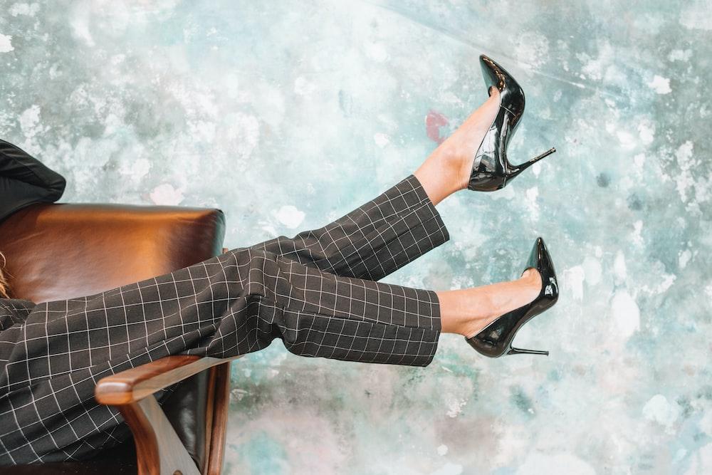 woman wearing stiletto shoes