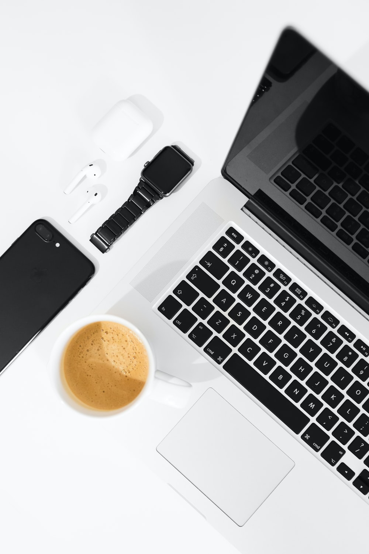 flat lay photo of MacBook