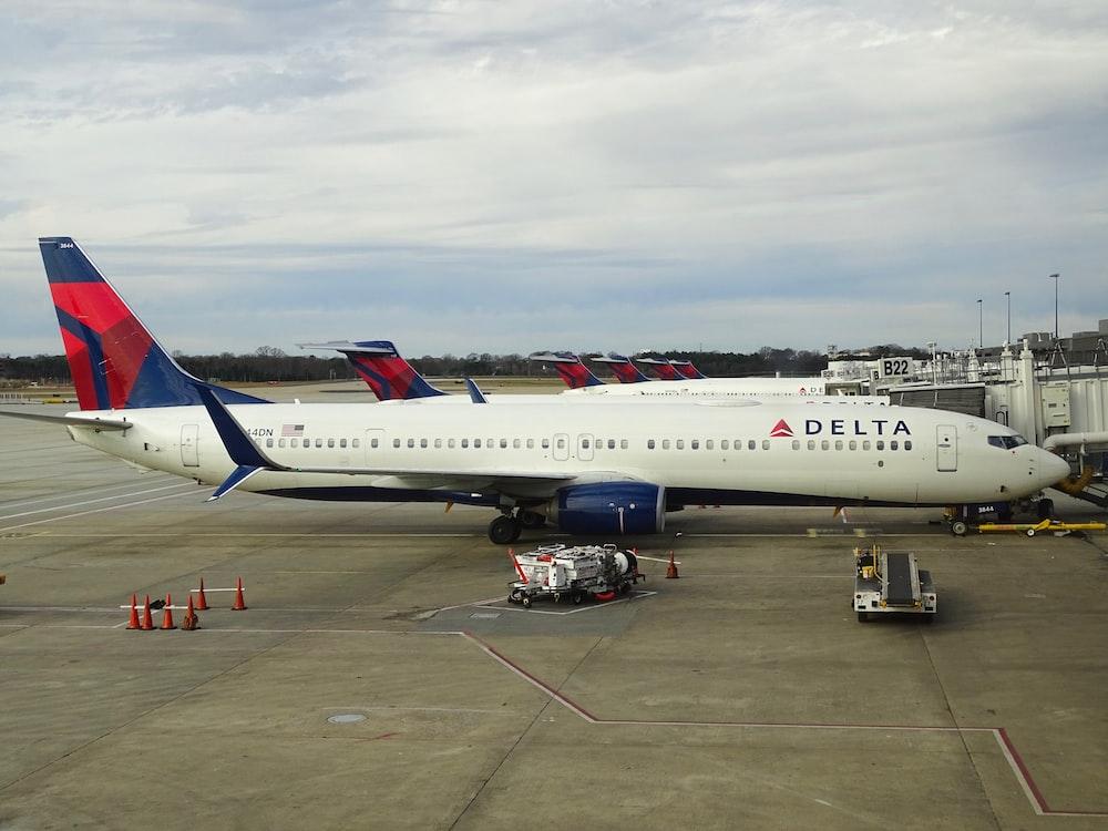 white, red, and blue Delta passenger plane