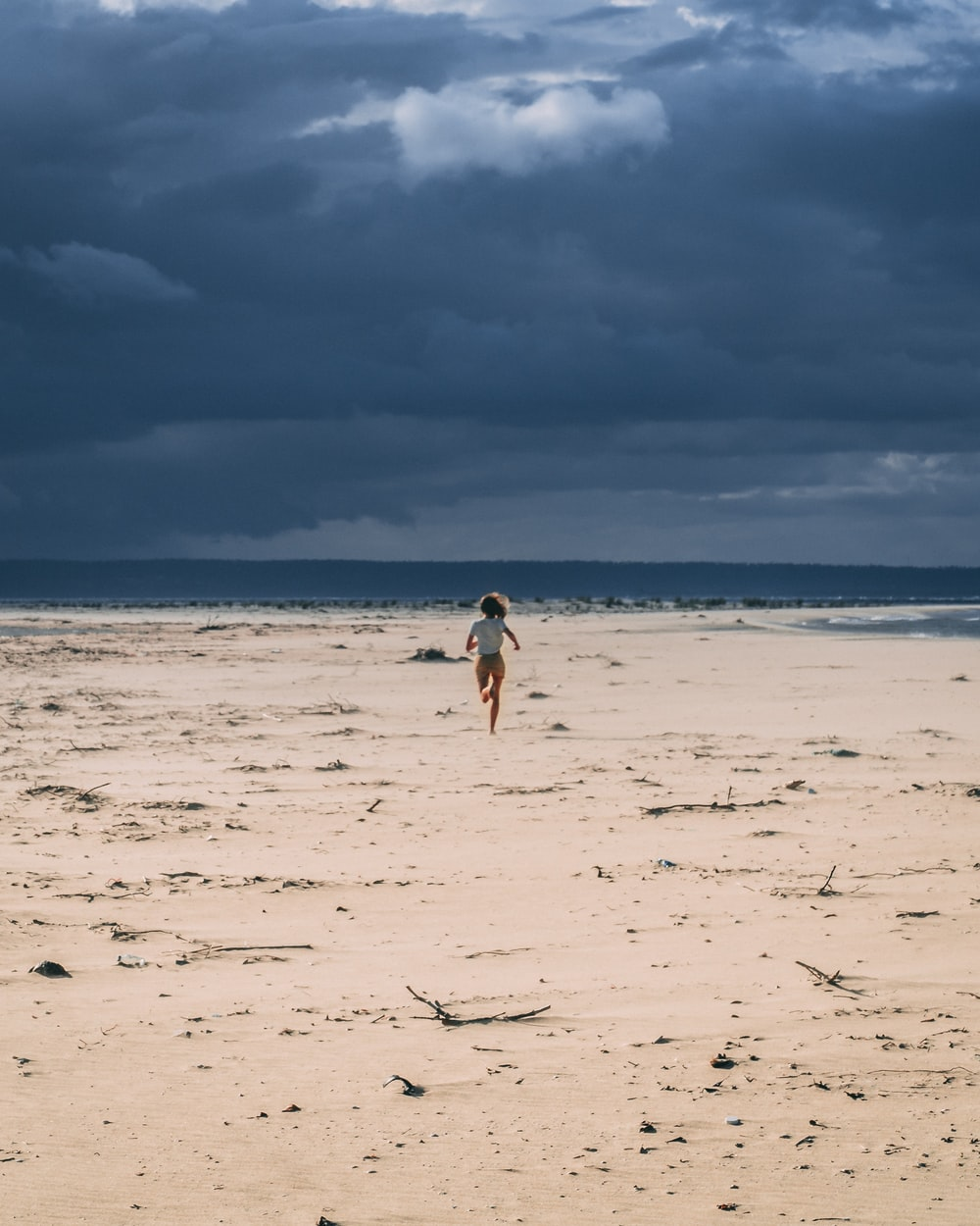 woman running in sand