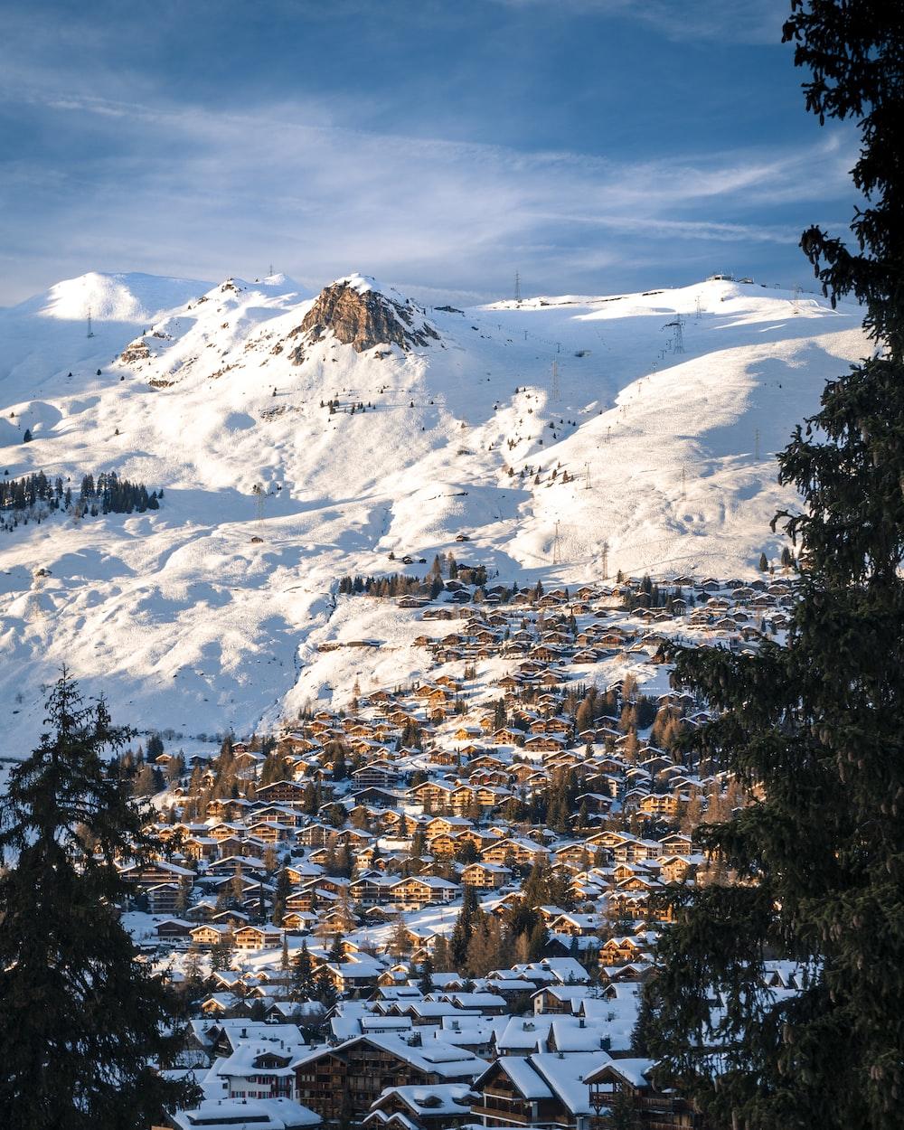 village near snow mountain