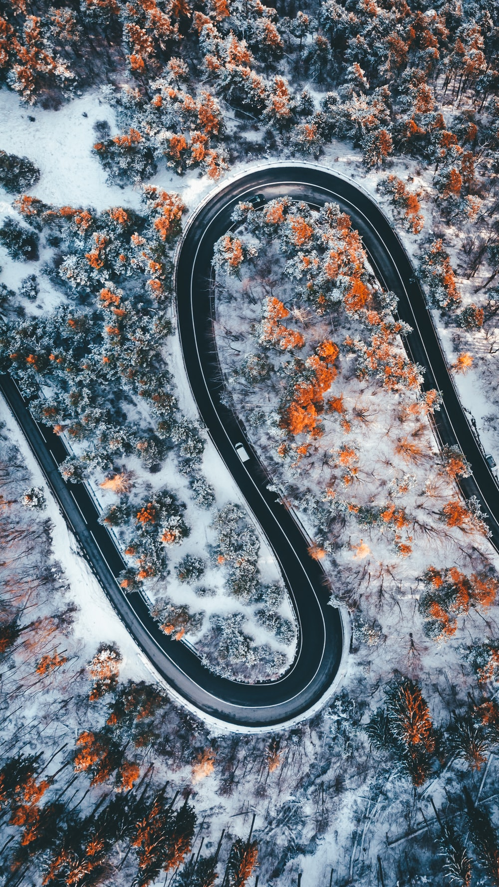 aerial photography of wavy road