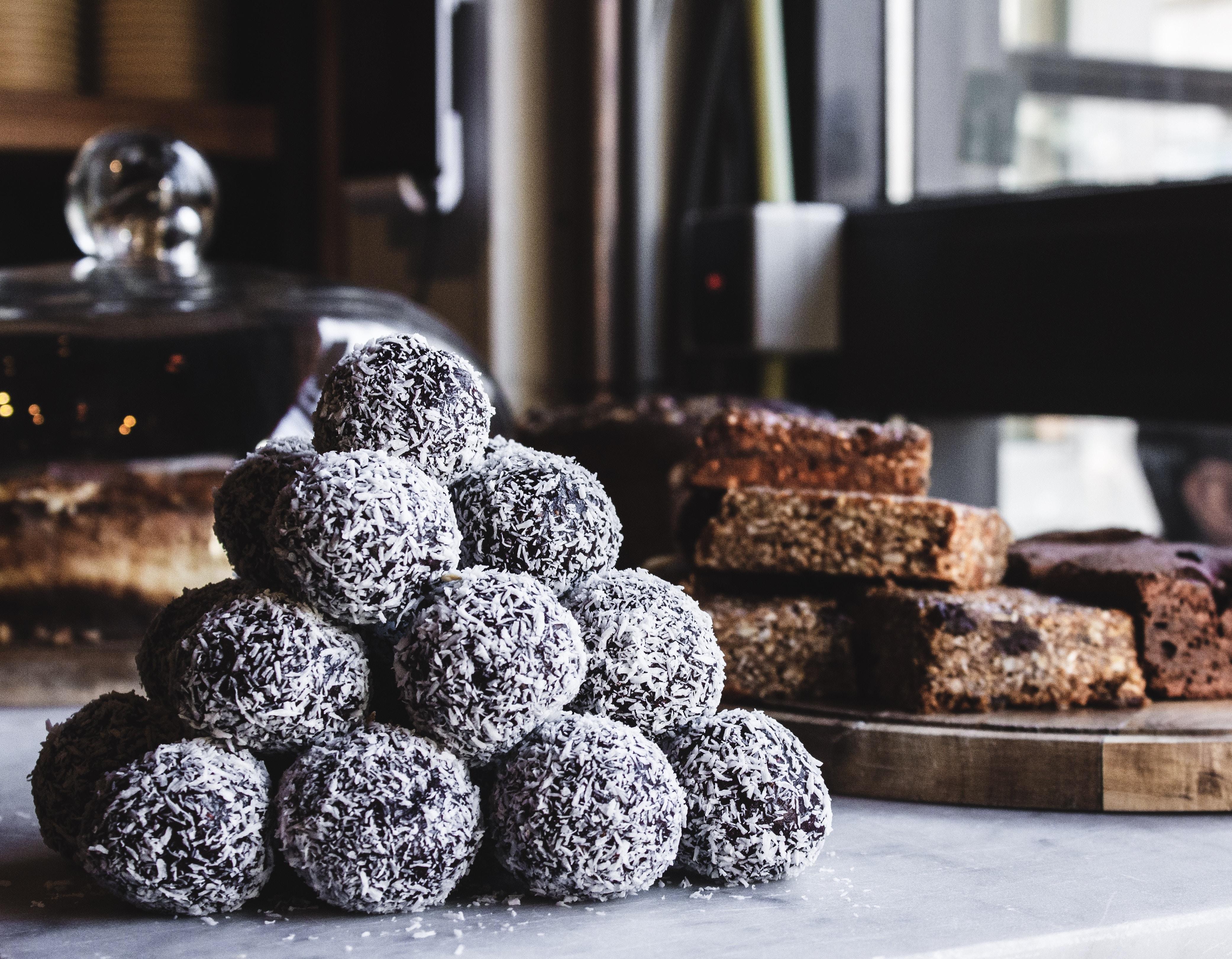 pile of dessert beside board