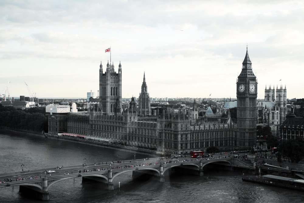 grayscale photography of Westminster Palace