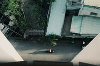 aerial photography of person riding on motorcycle