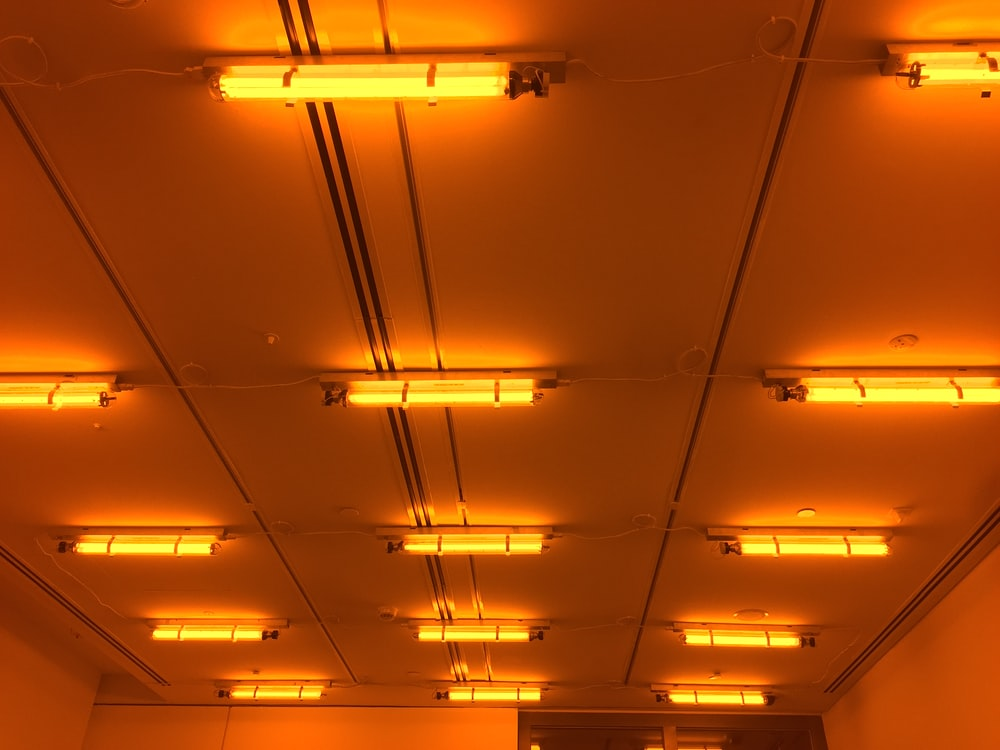 beige fluorescent lamps