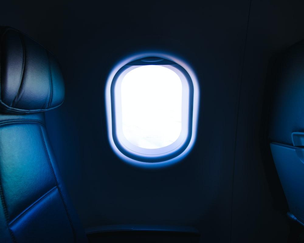white and gray airplane window