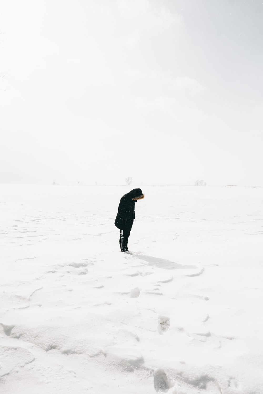 person standing on snow covered field