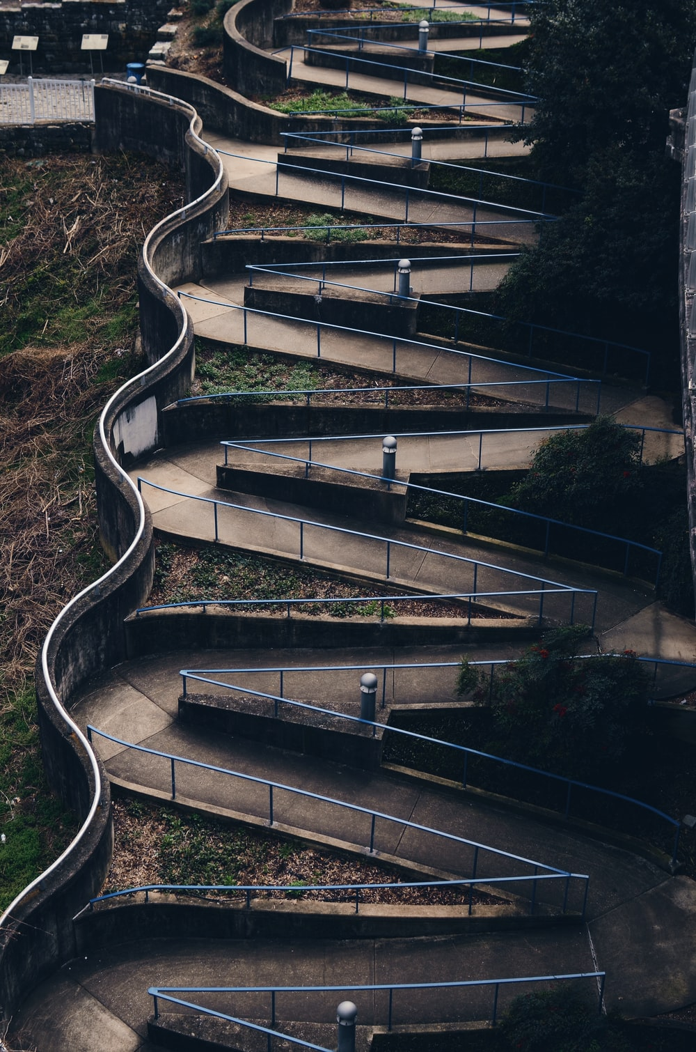 high angle photography of gray rails