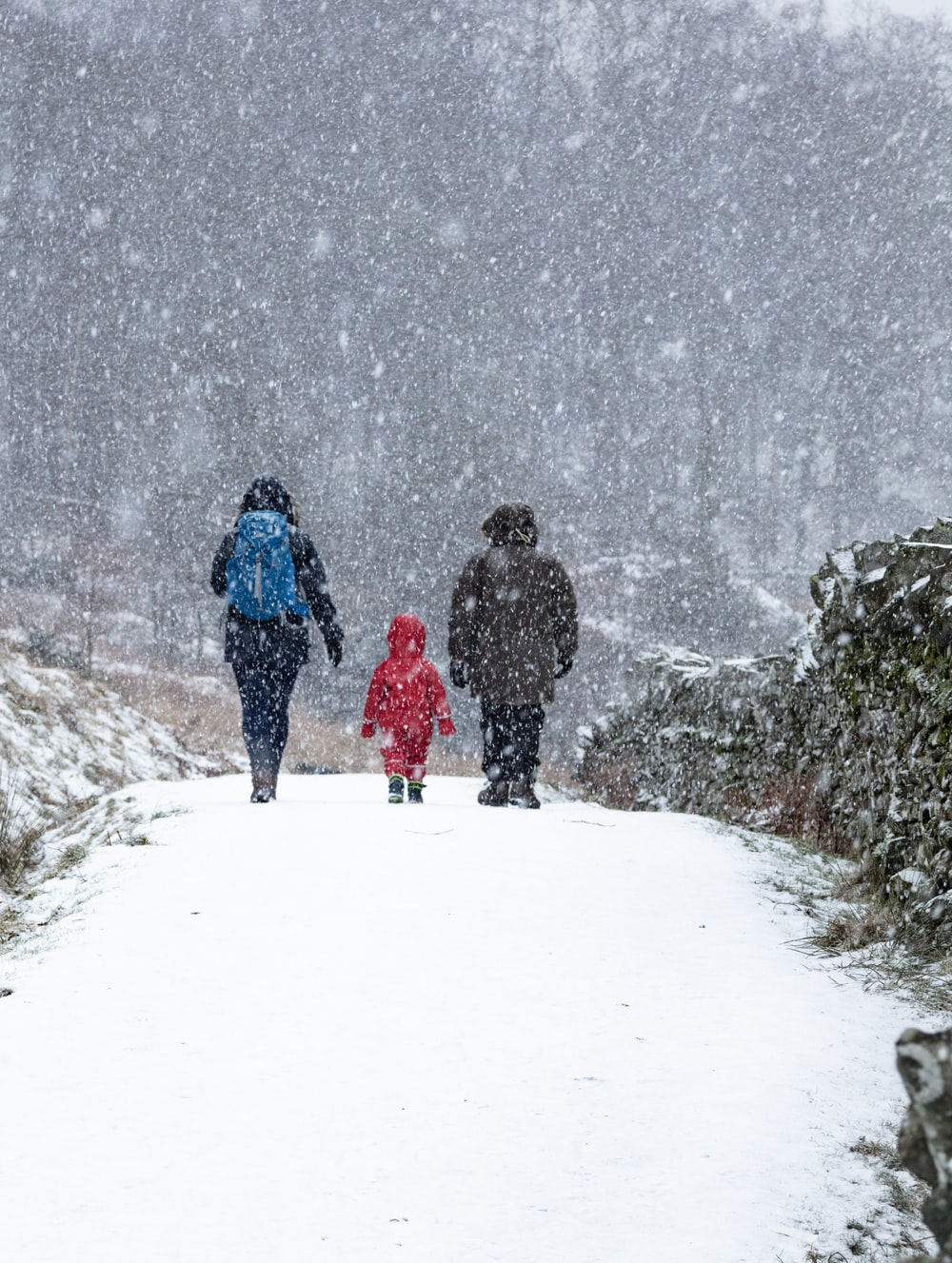 toddler between two person walking on snow