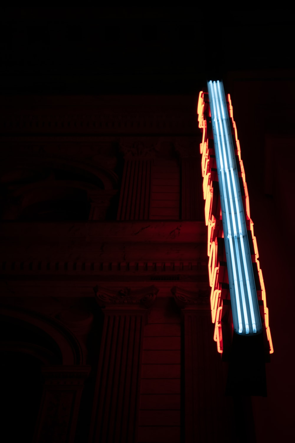 blue and orange neon sigange