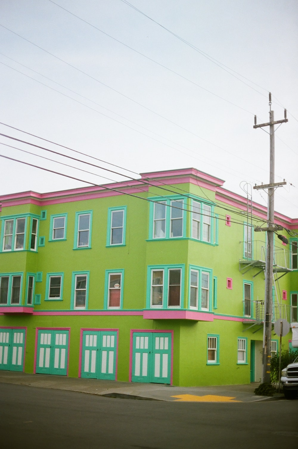 green painted building