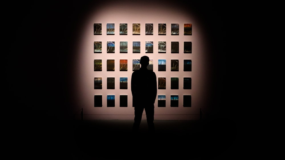 silhouette of person standing in front of the picture