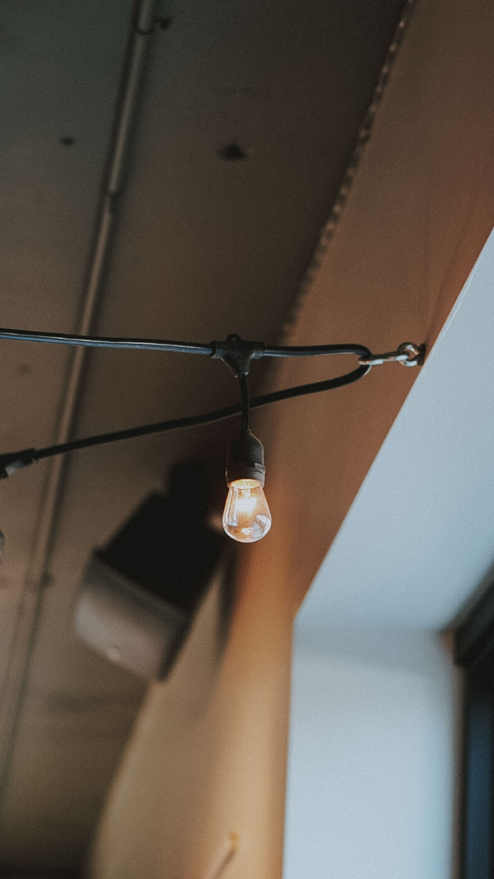 low-angle photography of LED light