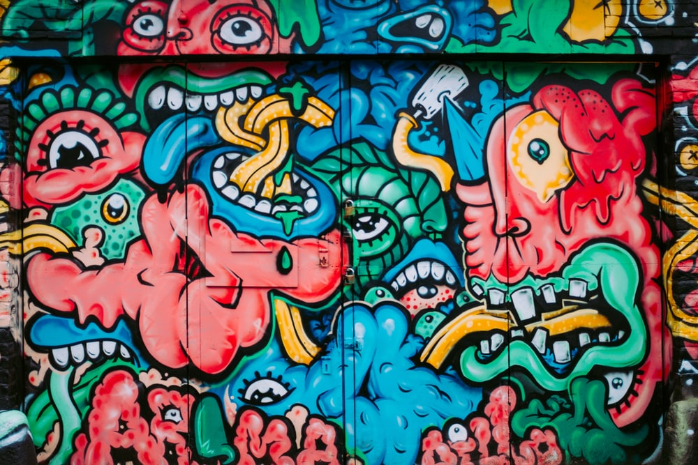 multicolored monster painting