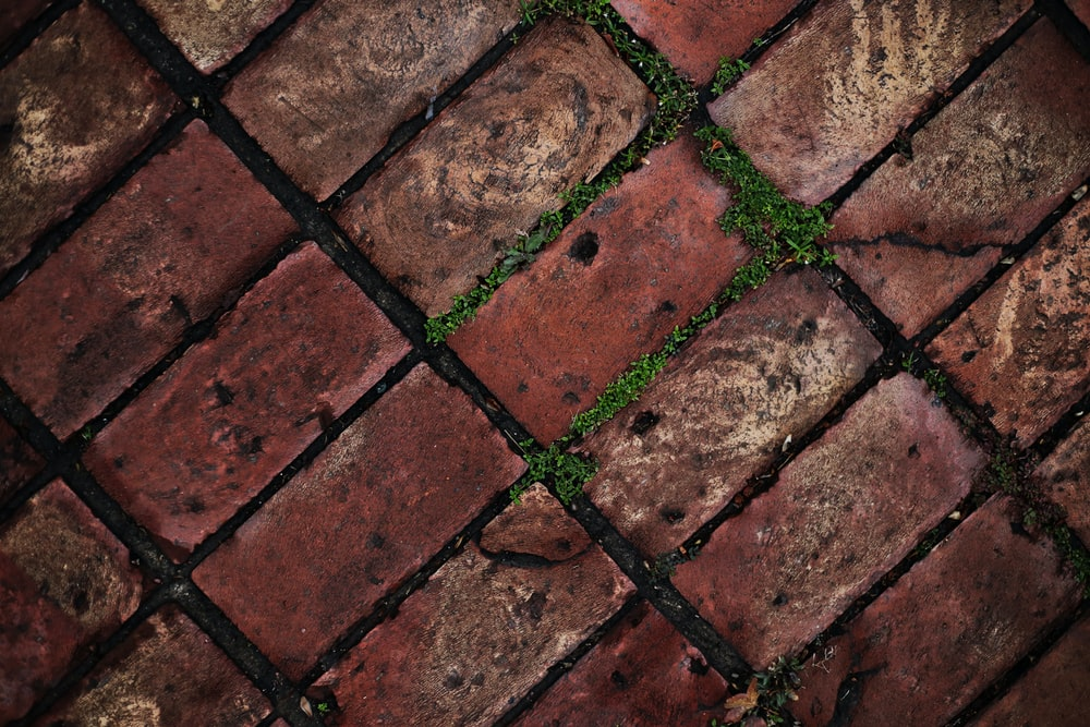 close-up photo of brown concrete bricks