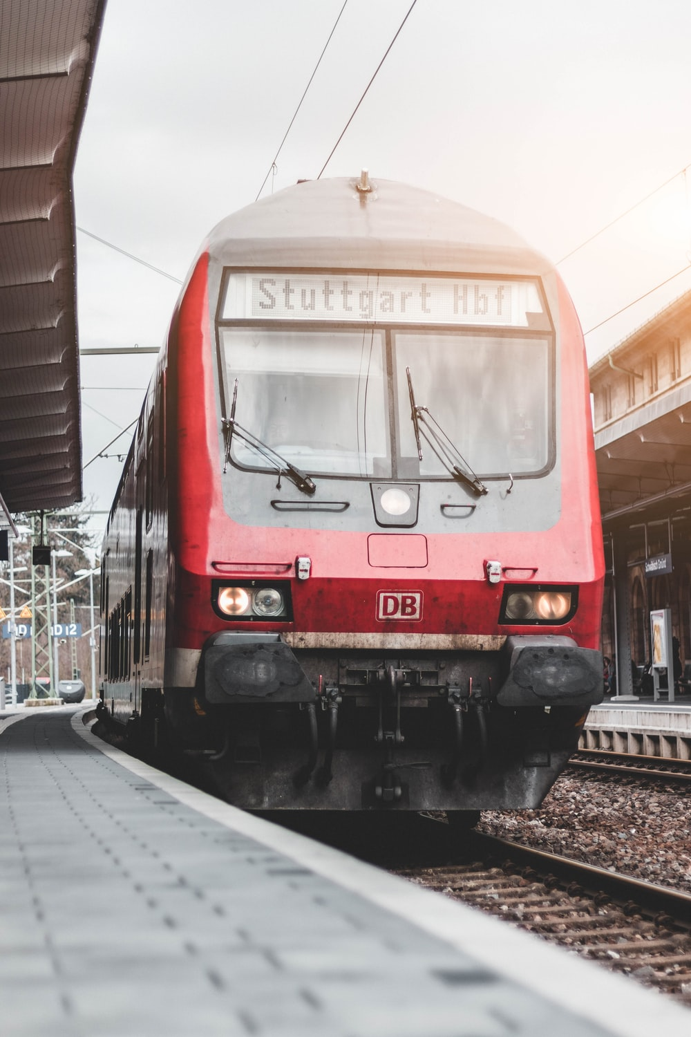 red and black train during daytime