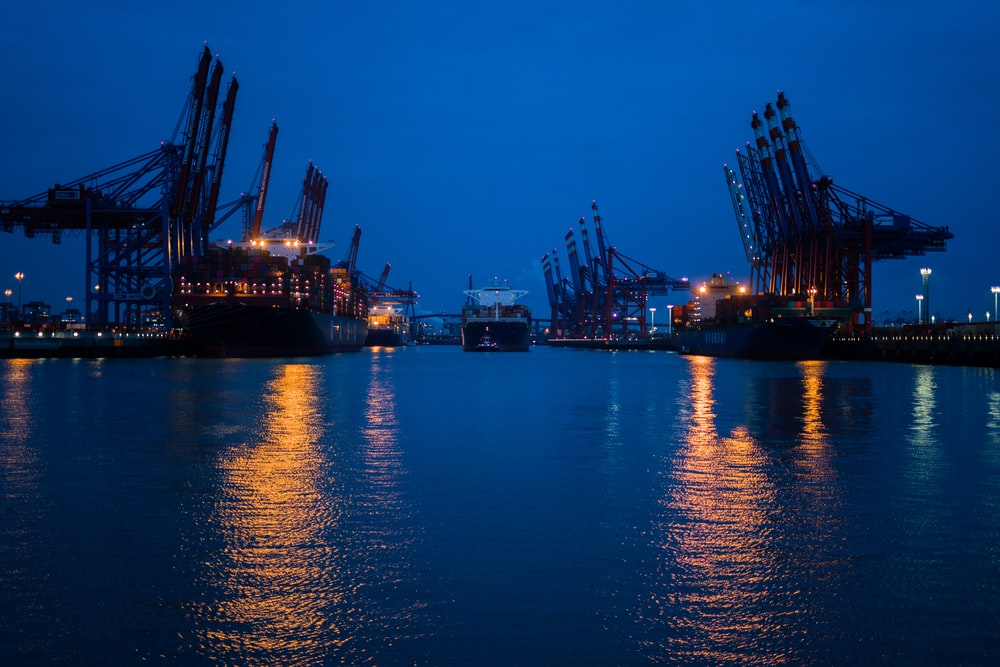 ship on sea during nighttime