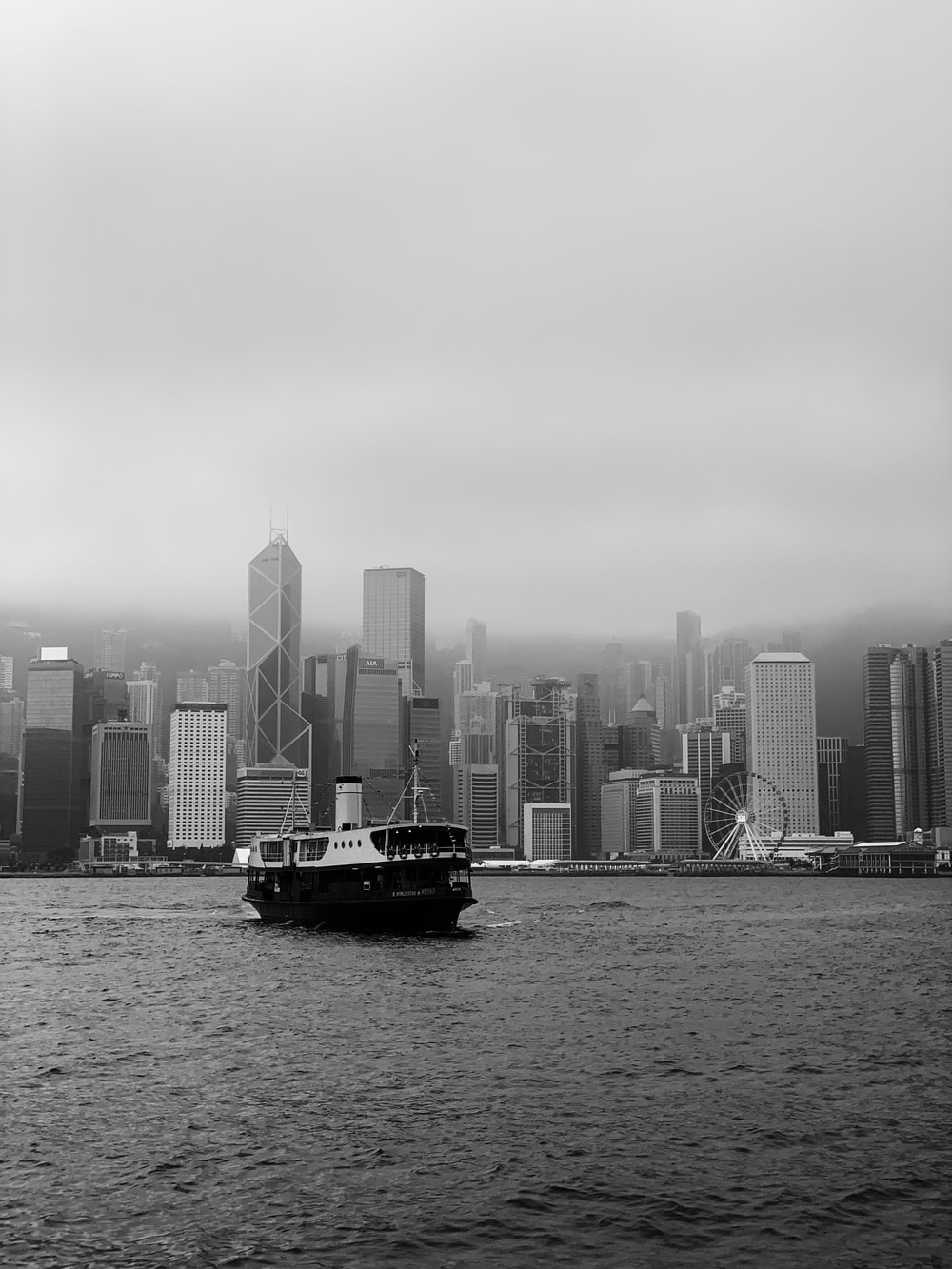 grayscale photography of passenger ship