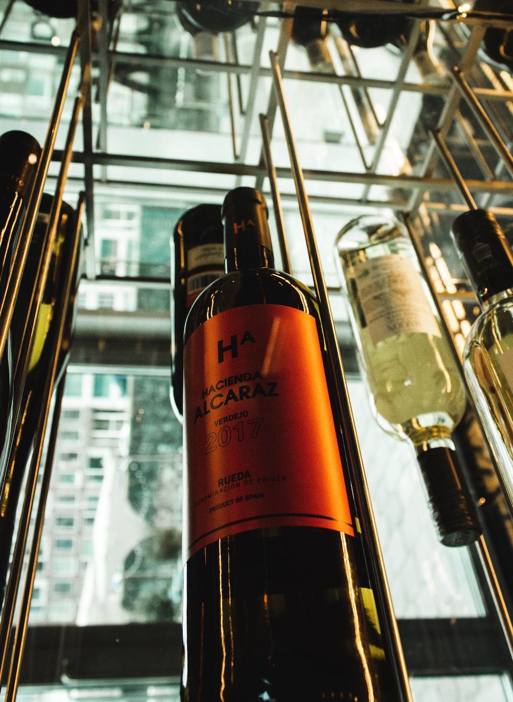 orange labeled wine bottle