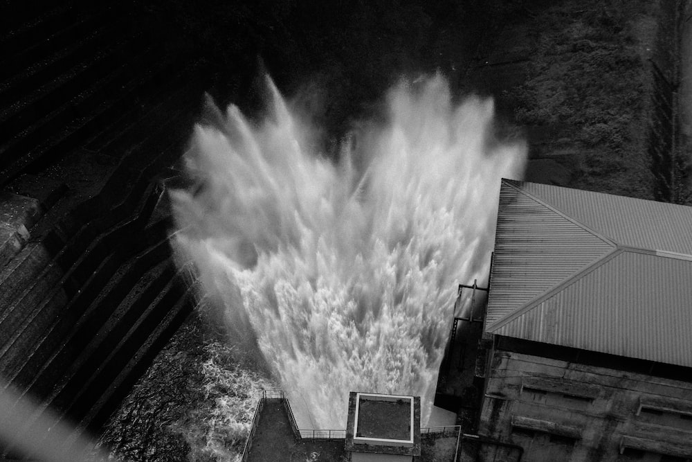water blast grayscale photography
