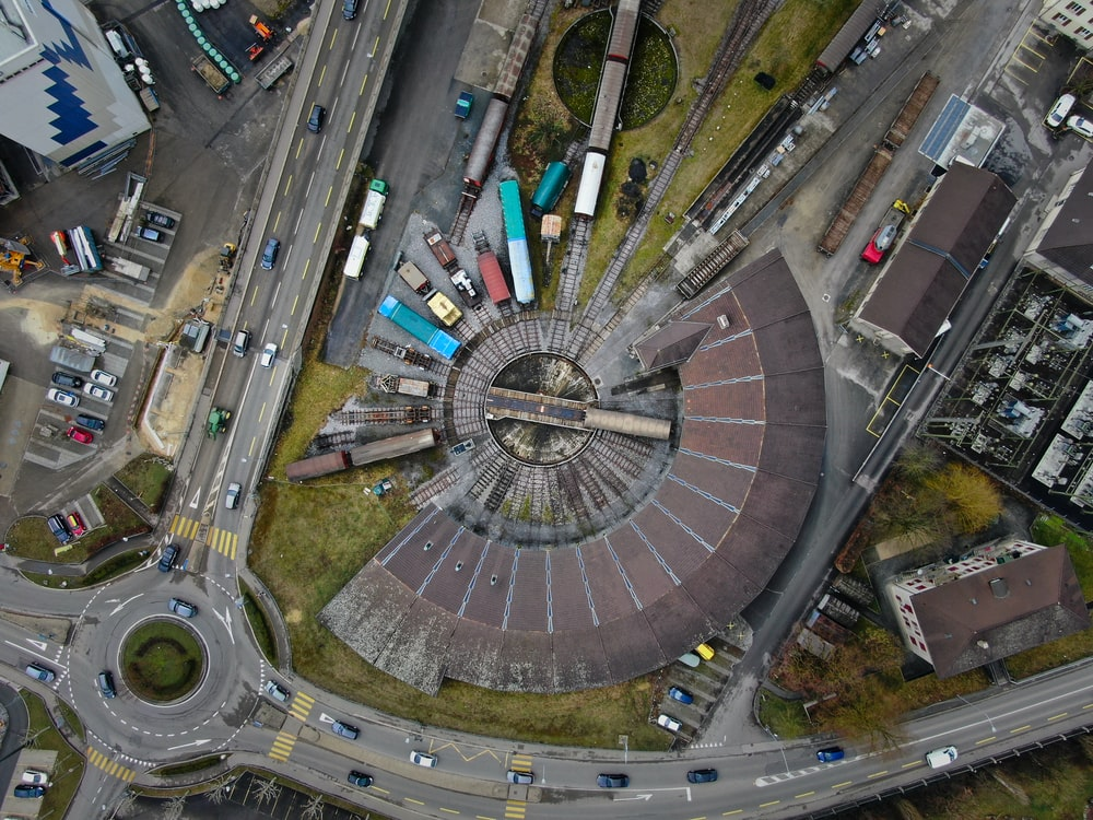aerial photography of concrete buildings and bridge