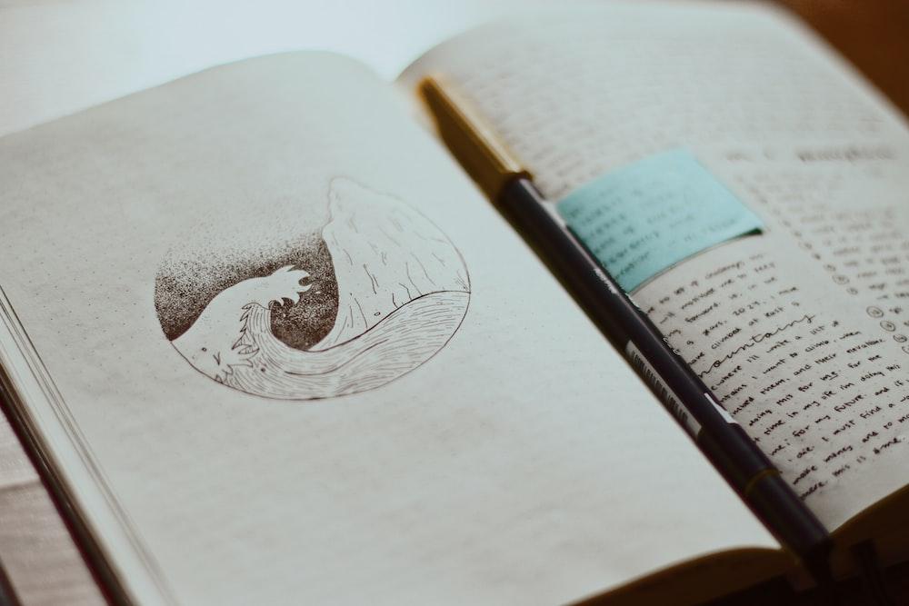 black pen on white printer book page