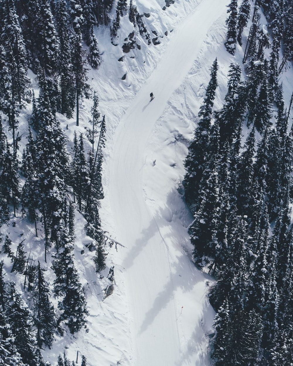 aerial photography of person skiing on snow mountain\