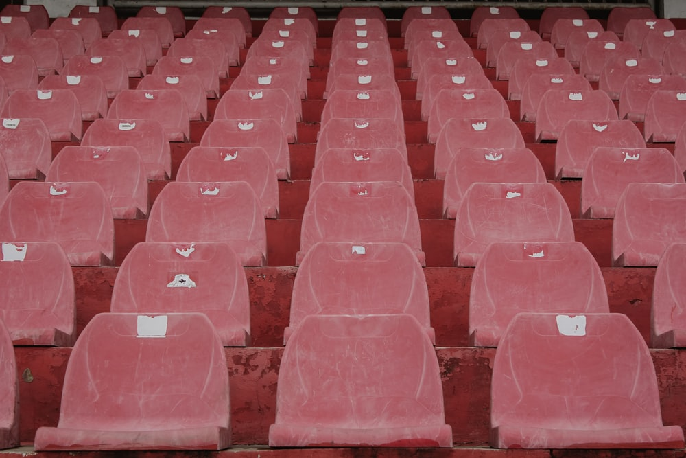 rows of plastic stadium seats