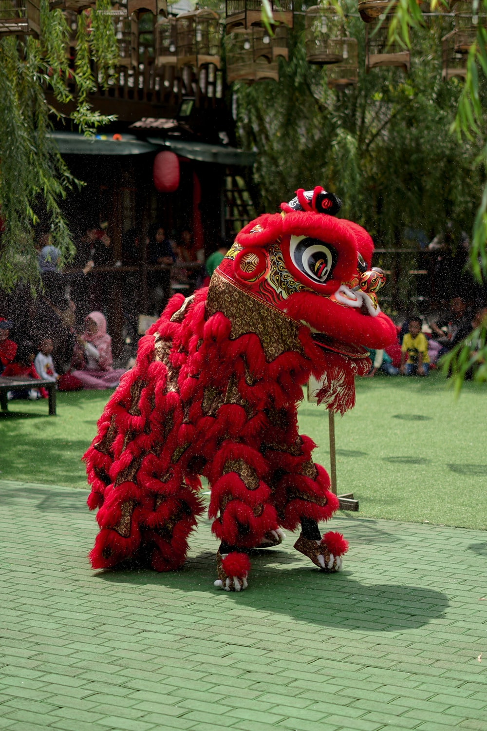 red Chinese lion costume