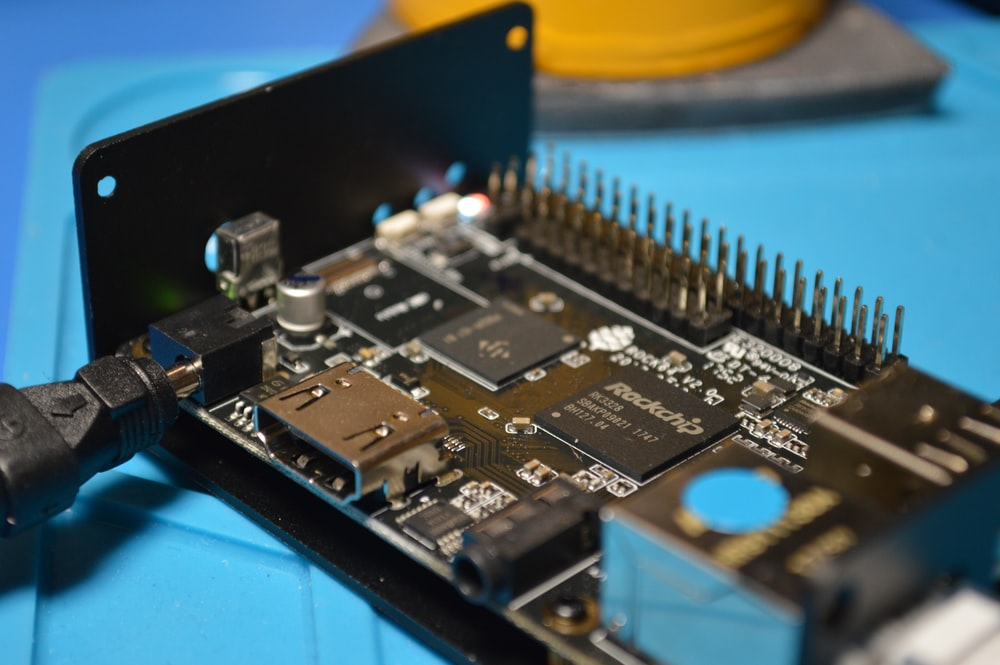 close-up photography of black circuit board