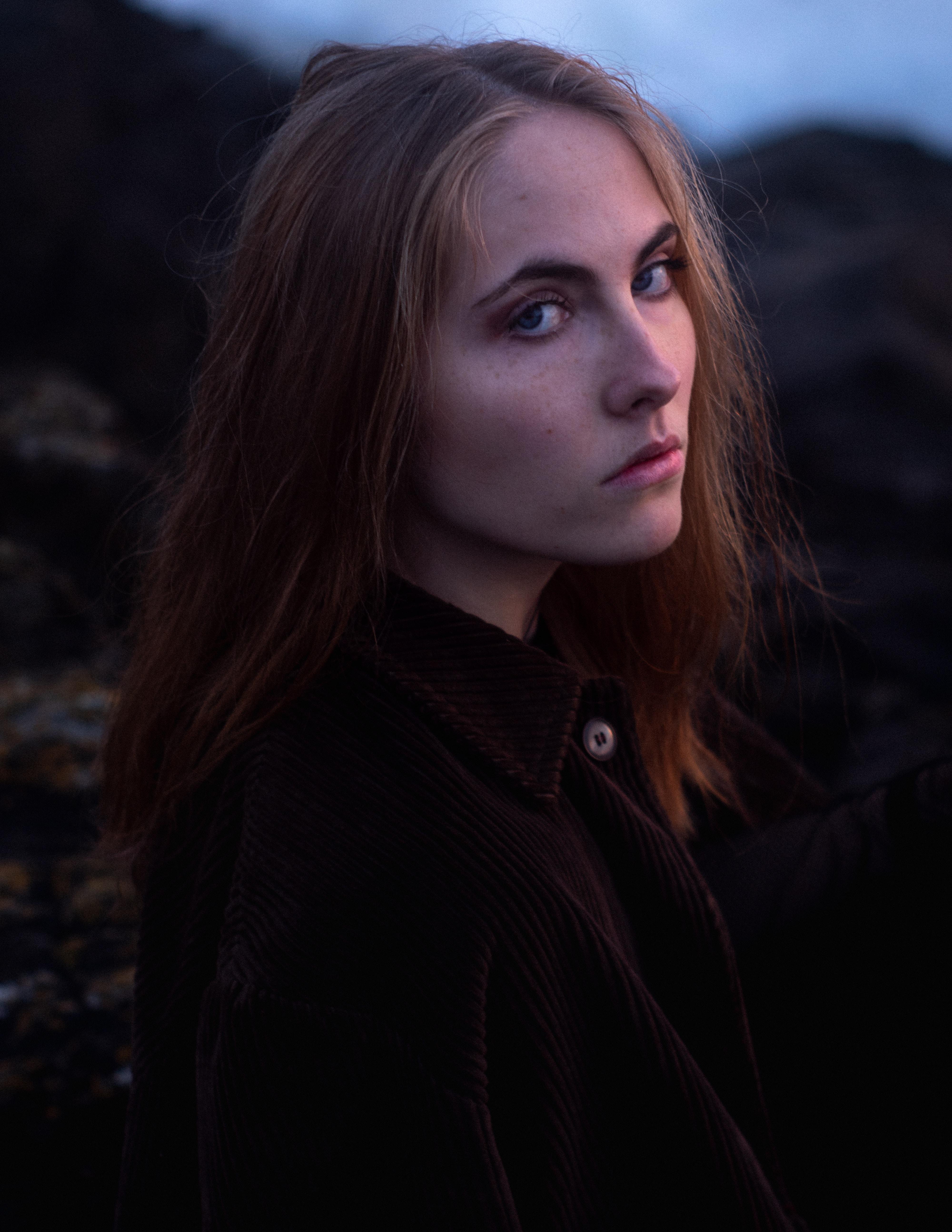 woman in black collared top