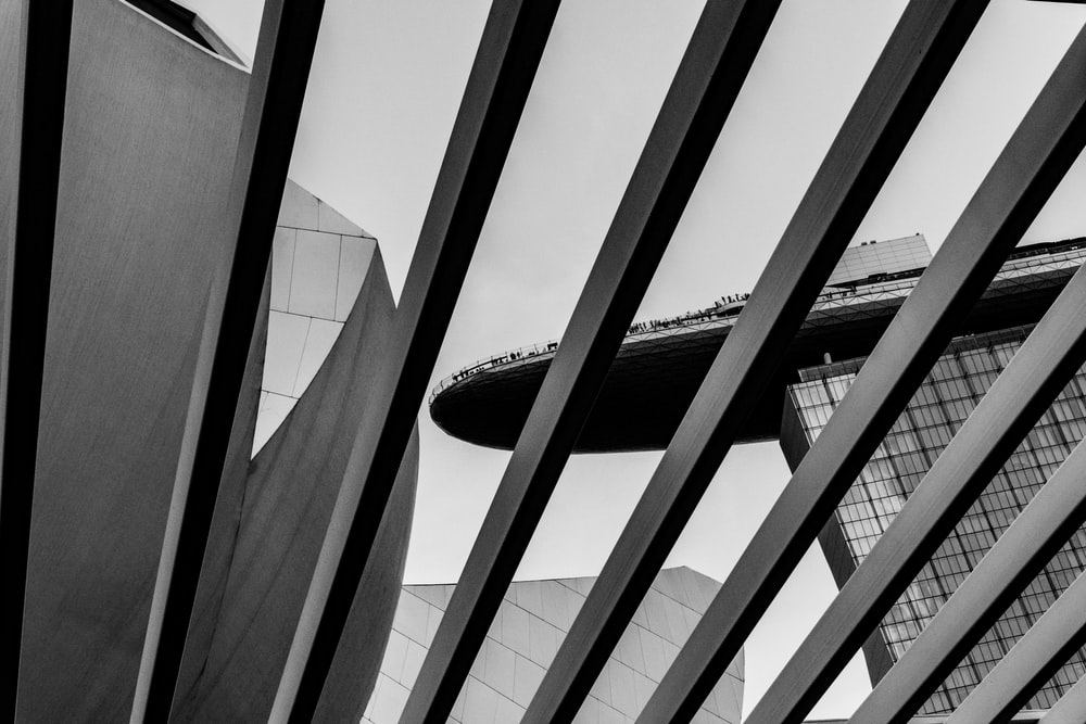 grayscale photography of Marina Bay Sands, Singapore
