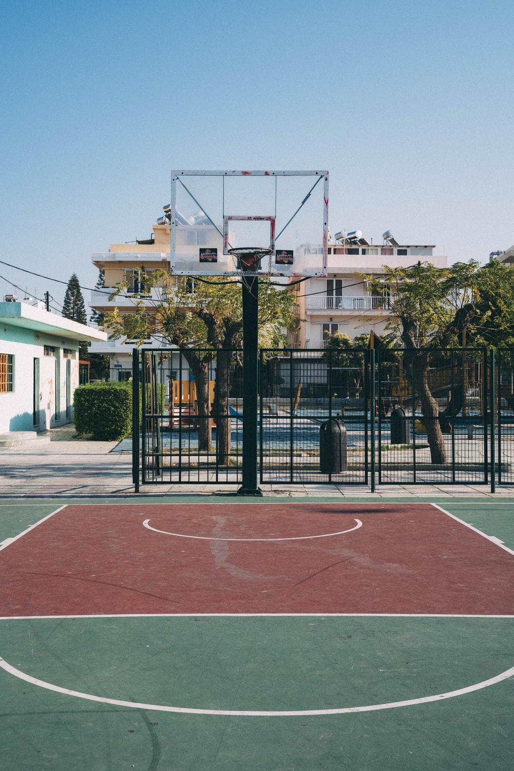 basketball system on empty playground