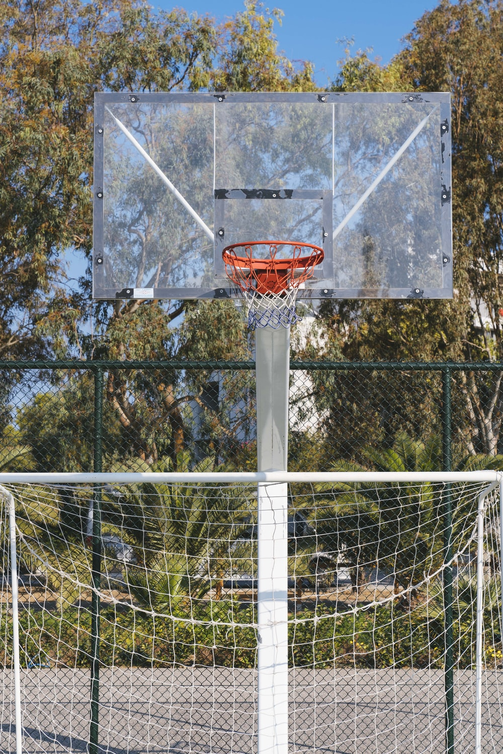 selective focus photography of portable basketball system during daytime