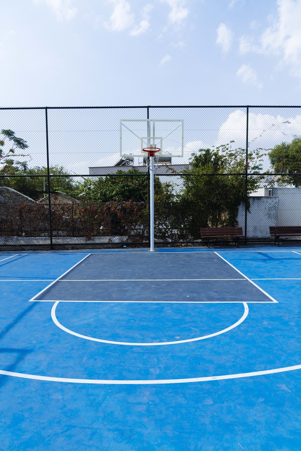 portable basketball system during daytime