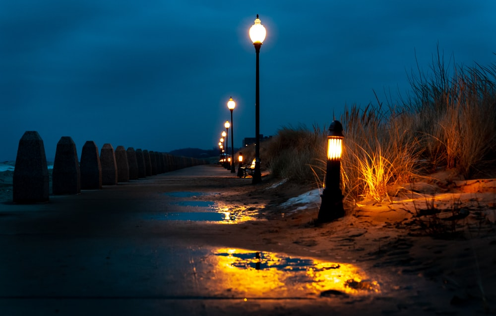 street light turned-on during nighttime