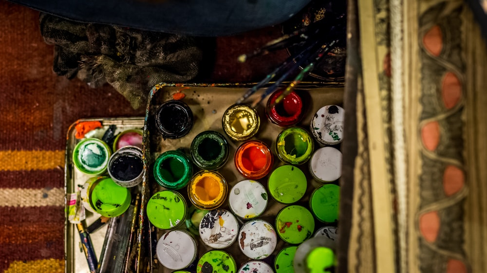 opened assorted-color paint lot