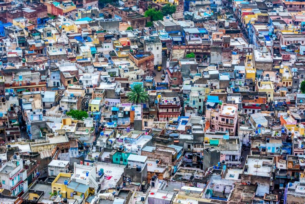 high angle photography of houses
