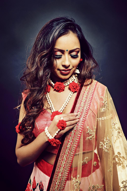woman wearing gagra choli dress
