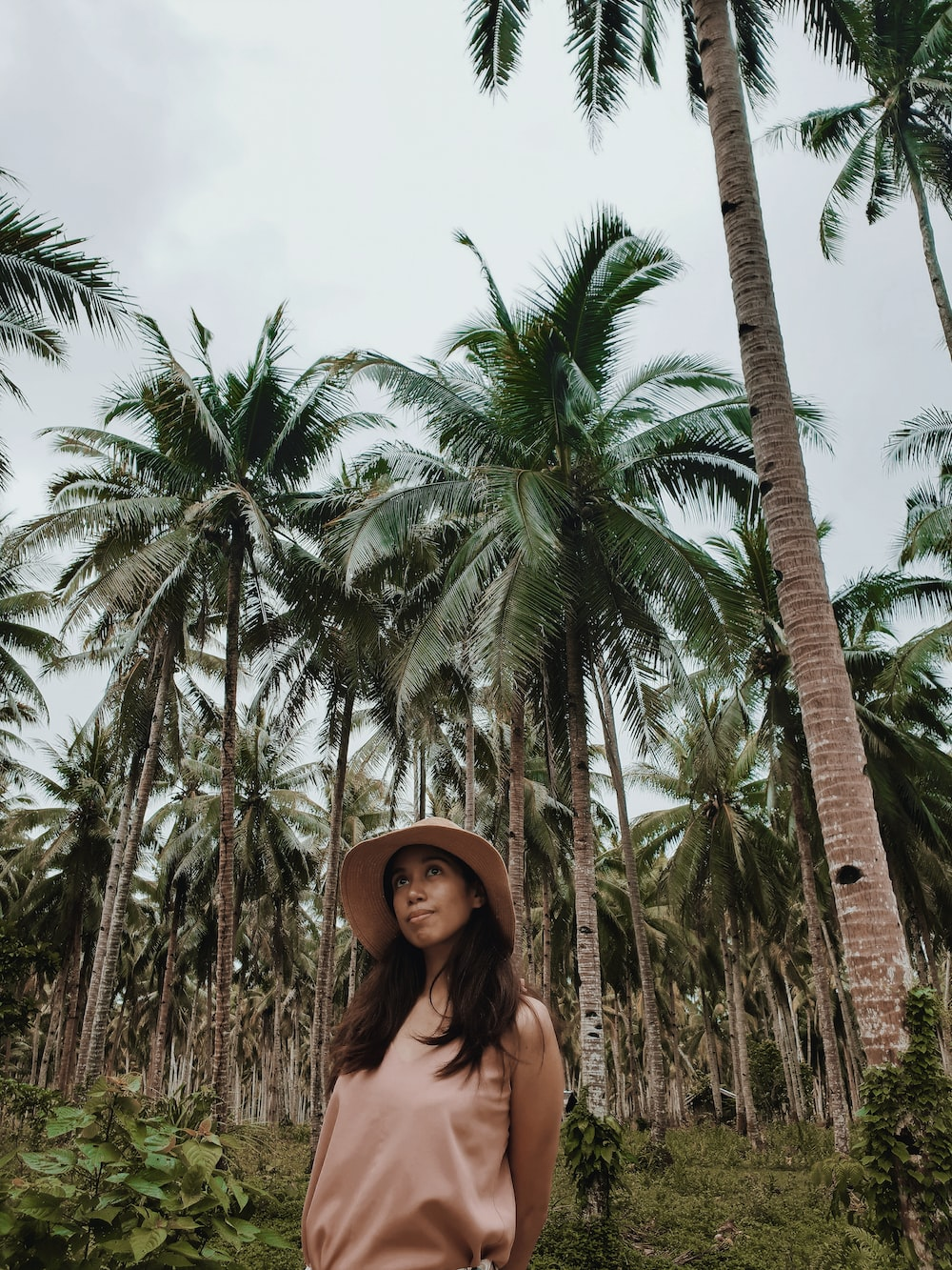 woman standing beside coconut trees