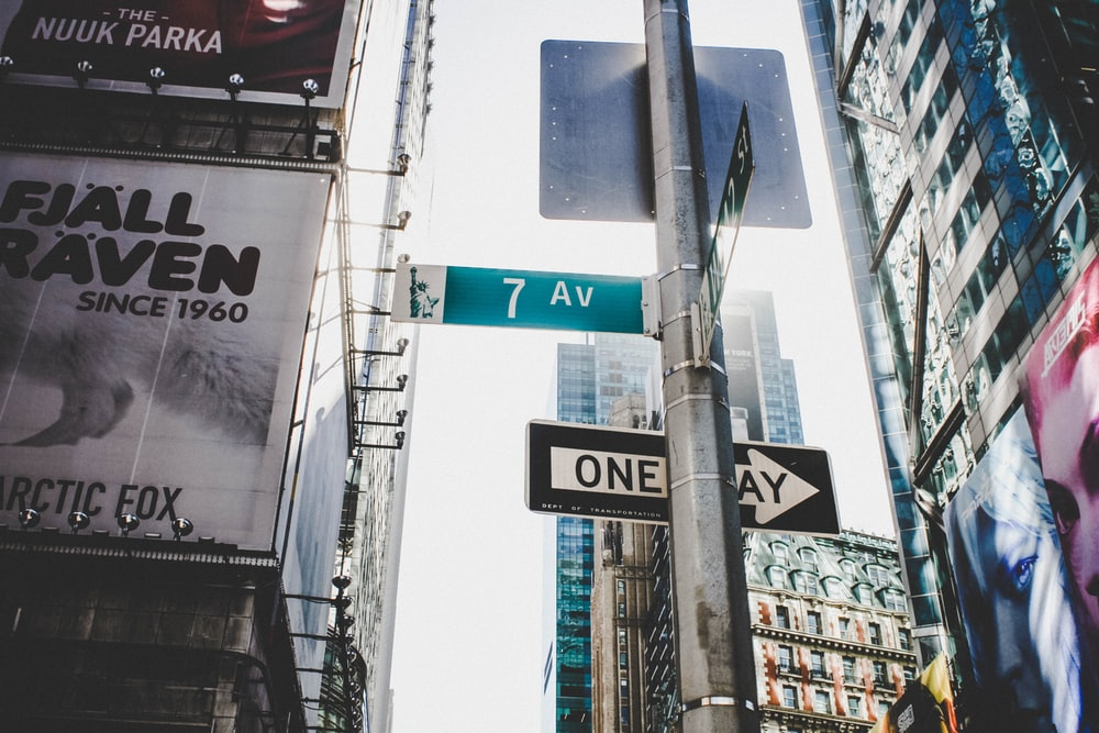 7 AV and One Way street signages