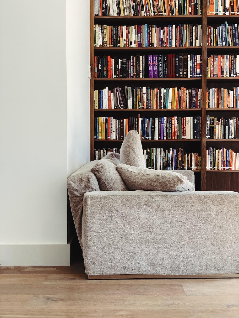 gray couch across bookshelf