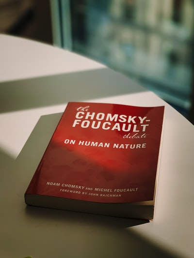 Chomsky Foucault book on table