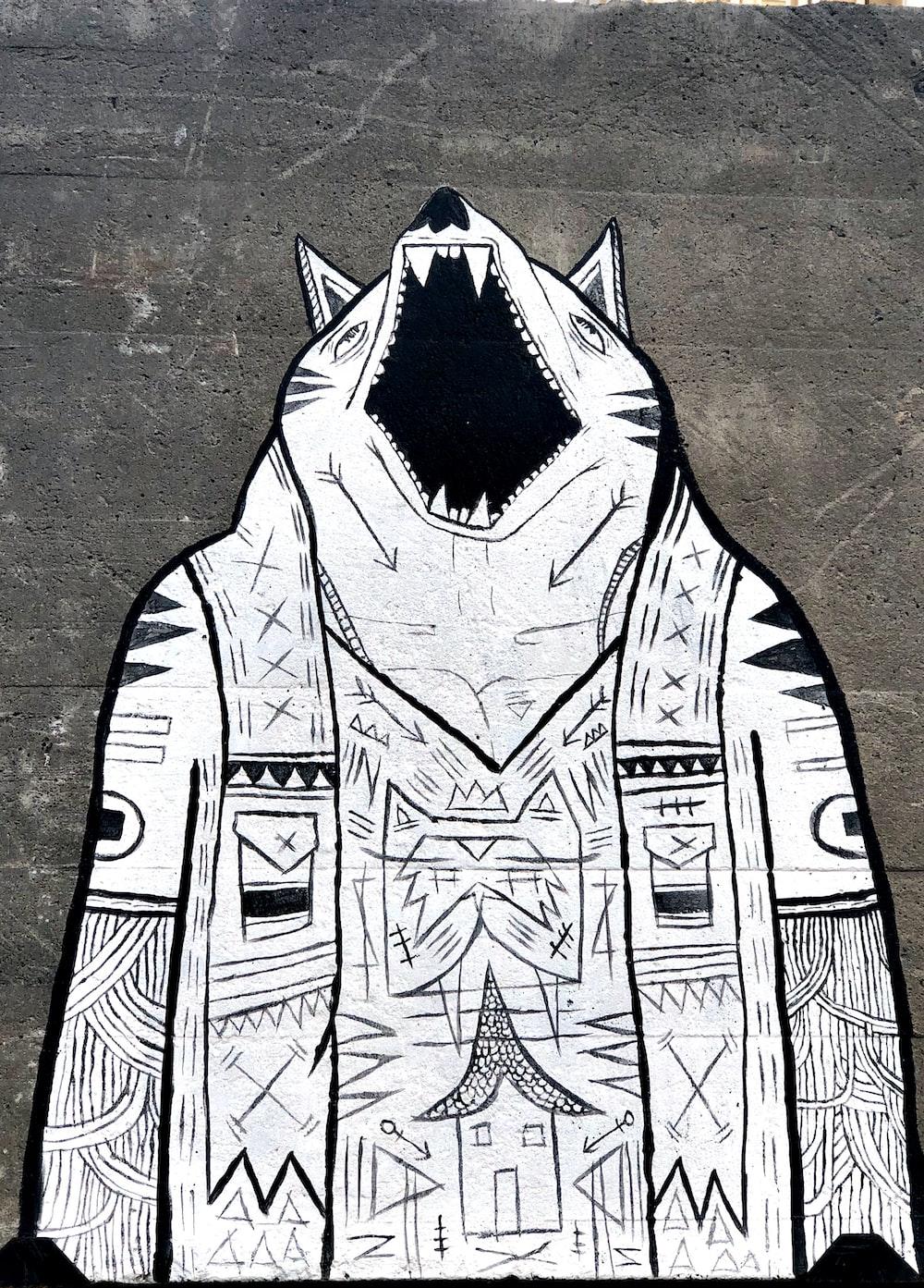 white and black wolf graffiti