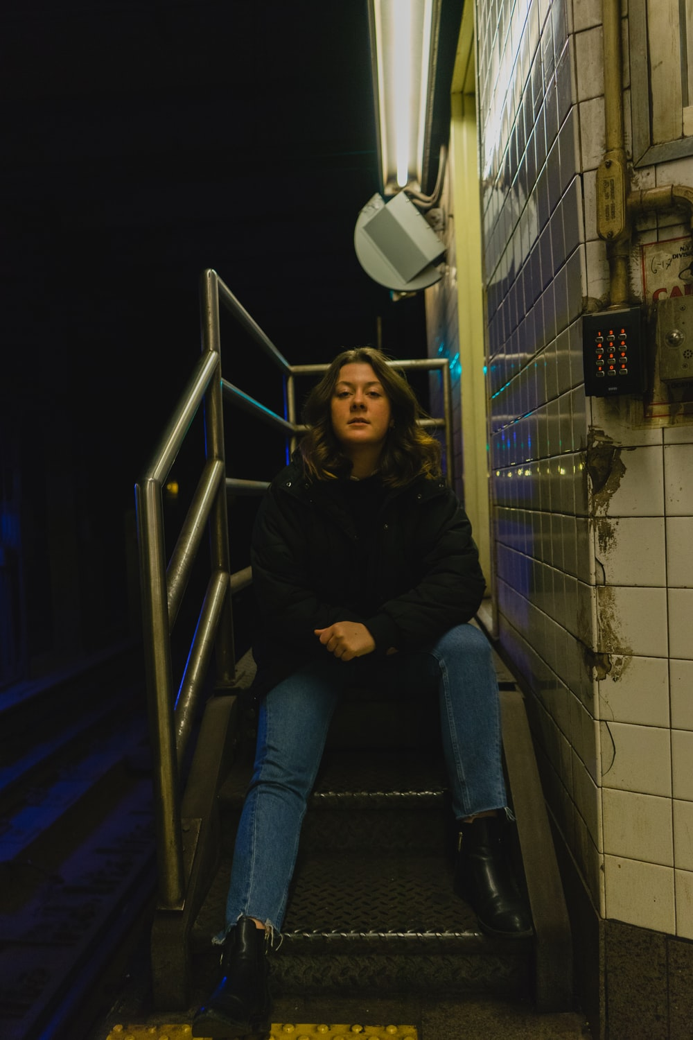 woman sitting stairs