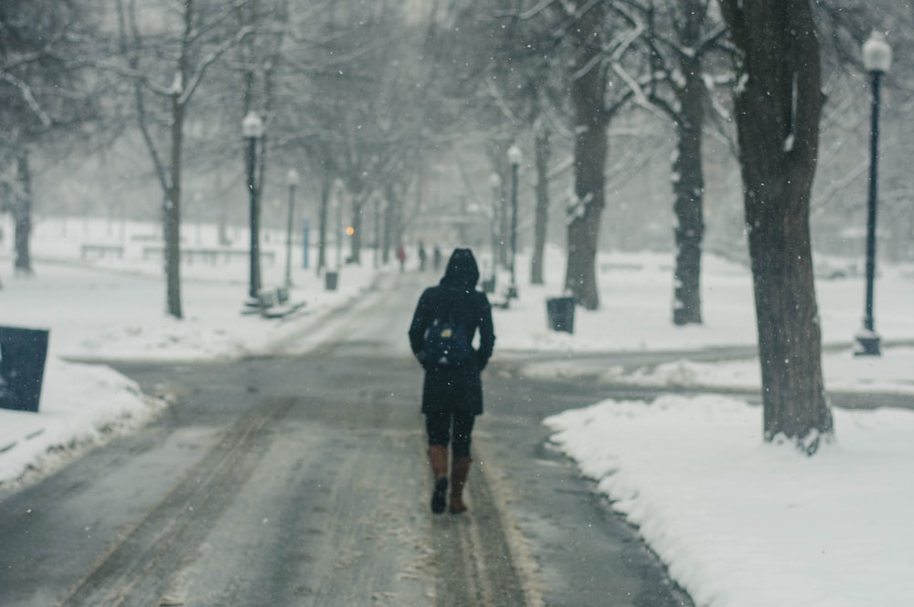 person in black hoodie standing between snow covered road and trees