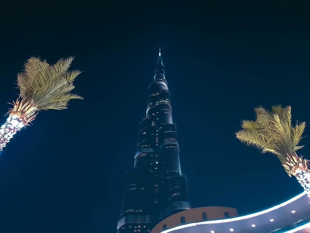 low-angle photo of Burj Khalifa during night time
