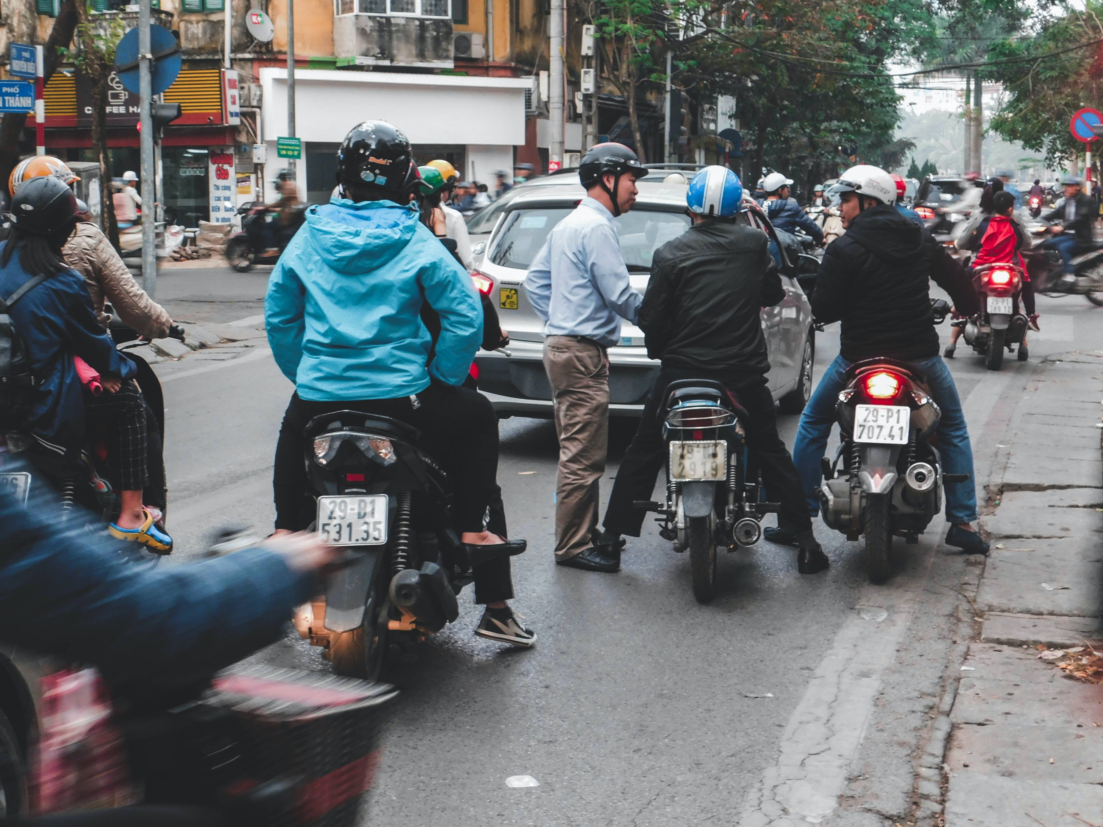 motorcyclists along busy road