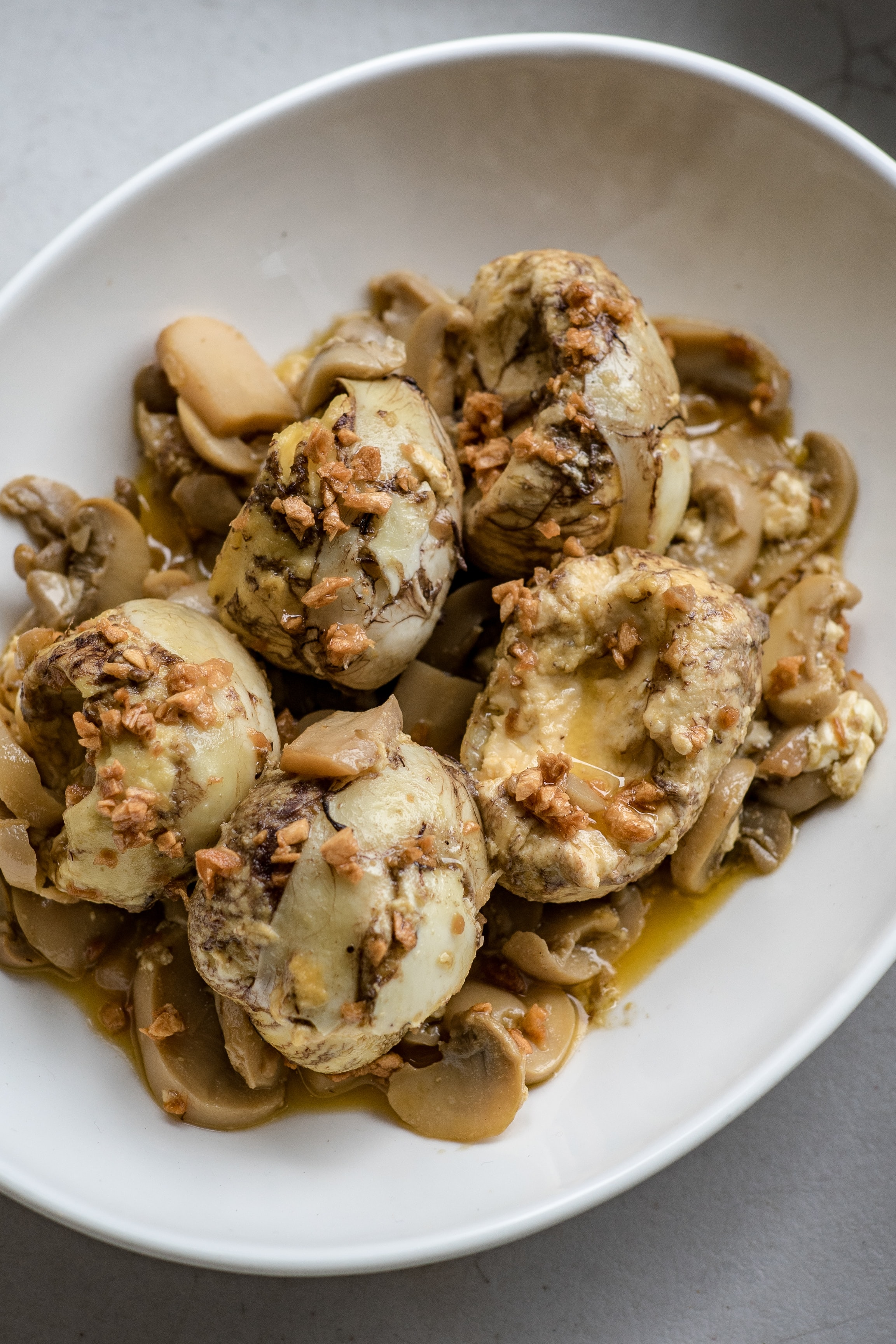 bowl of mushrooms with egg